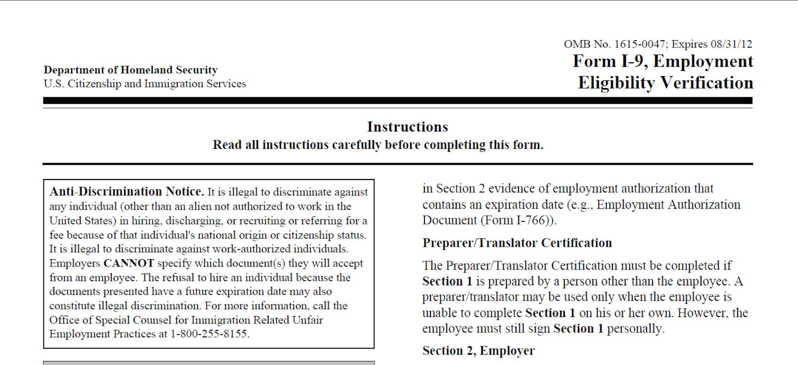 Expiring Form I-9 Still Valid, Says USCIS | Small Business Support